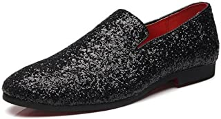 XIUWU Men's Glitter Sequins Tuxedo Dress Shoes