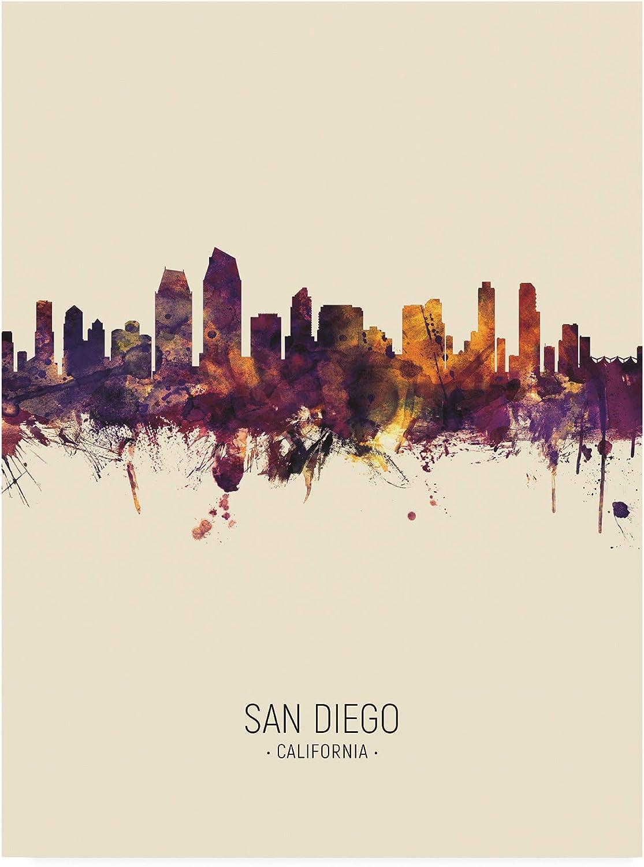 Trademark Fine Art San Diego California Skyline Portrait III