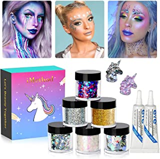 Body Glitter by iMethod - 6 Jars Holographic Cosmetic Face Glitter, for Festival & Christmas Rave Makeup