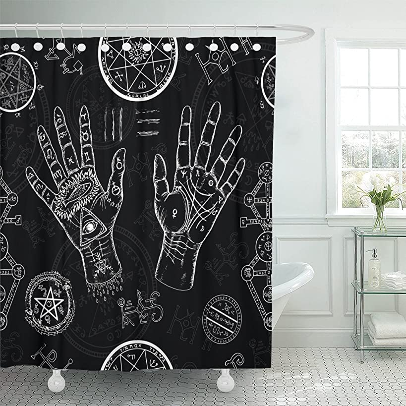 TOMPOP Shower Curtain Chiromancy Human Hands Pentagram and Mystic Symbols on Black Waterproof Polyester Fabric 72 x 72 Inches Set with Hooks