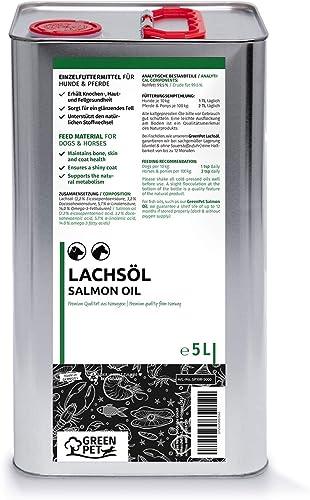 GreenPet Aceite de salmón 5 Litros para Perros, Gatos y Caballos, ácidos grasos omega-3, producto puro 100% natural, ...