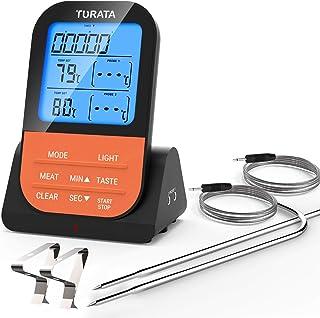 TURATA Termometro digitale per carne, con timer, 2 sonde di temperatura, pannello posteriore magnetico, display LCD retroi...