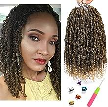 Bomb Twist Crochet Hair 6 Packs 10inch Spring Twist Braiding Hair Passion Twist Hair Pre looped Crochet Hair Synthetic Fluffy Twist Dreadlocks Hair Extension for Women (T1B/27)