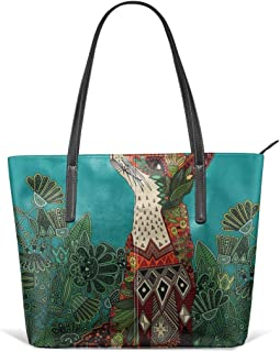 Floral Fox Leather Tote Large Purse Shoulder Bag Portable Storage HandBags Convenient Shoppers Tote