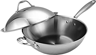 Cooks Standard Stainless Steel Stir Fry Pan with Dome Lid 13-Inch Multi-Ply Clad Wok, Silver