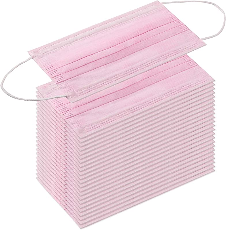 TecUnite 100 Pack Disposable Face Masks Breathable Dust Filter Masks Mouth Cover Masks With Elastic Ear Loop Pink