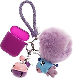 Bangtan Boys Airpod Case with Cute Fur Ball Keychain/Strap J-Hope Purple