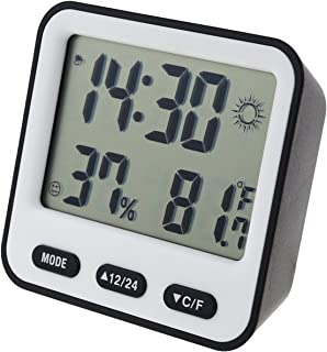 Hguangs Hygrometer Thermometer Digital Temperature Humidity Meter Indoor Thermometer Hygrometer with Digital LCD Display and Alarm Clock