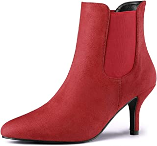Women's Pointed Toe Low Stiletto Heel Ankle Chelsea Boots