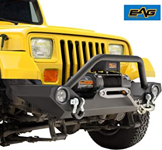 EAG Front Bumper with LED Light and Light Frames Rock Crawler Fit for 87-06 Jeep Wrangler TJ YJ