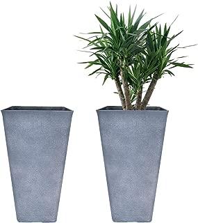 Tall Planters 20 Inch, Flower Pot Pack 2, Patio Deck Indoor Outdoor Garden Tree Resin Planters (Gray)