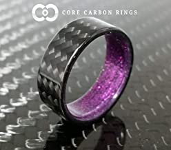 Men's or Women's 100% Carbon Fiber Twill Ring - Handcrafted -Lightweight - Black Band with purple sparkle interior - Custom Band widths