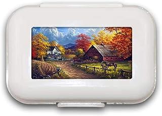 Sunok Village Farm Pill Box Pill Case Pill Organizer Decoratieve Boxen Pill Box voor Pocket of Purse - 8 Compartiment Pill...