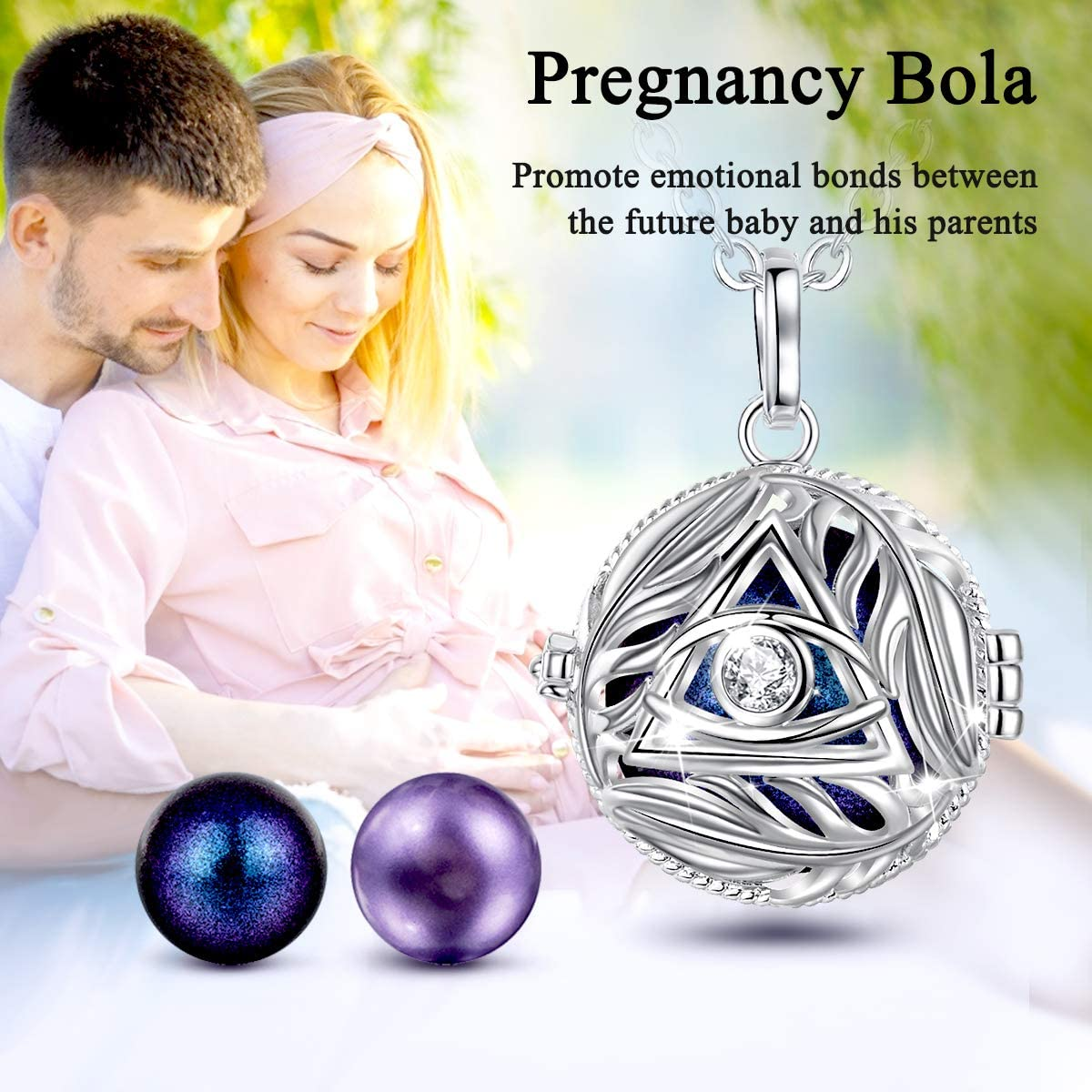AEONSLOVE Harmony Necklace Pregnancy Evil Eye Harmony Ball Locket Music Angel Chime Caller Bell 20mm Wishing Balls Bola Necklaces Best Jewellery Pregnancy Gifts for Mom Baby Shower Pregnant Women