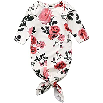 Koloyooya Newborn Baby Striped Gown Swaddle Wrap Knotted Sleepwear Sleeping Bags with Headband Hat 0-3 Months Avocado Brown/&White, 60