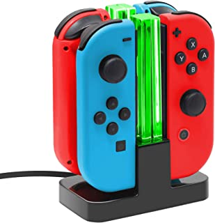 Joy Con Charging Dock for Nintendo Switch by TalkWorks | Docking Station Charges up to 4 Joy-Con Controllers Simultaneousl...