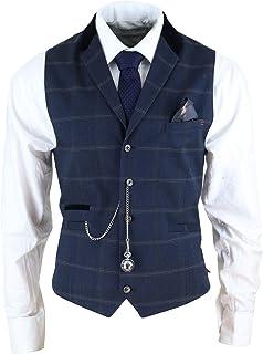 House Of Cavani Mens Navy Check Waistcoat with Pocket Watch