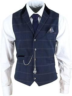 Uomo Marc Darcy in tweed Herringbone A Scacchi Vintage Gilet Formale su Misura