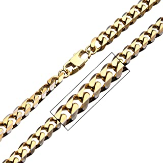 Men's Denim Fade Stainless Steel Gold Plated Diamond Cut Curb 8mm Chain Necklace. 22 inch Long