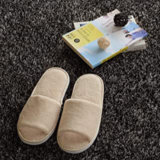 Disposable Slippers, 5 Pairs Spa Slippers Coral Fleece Disposable Slippers Fluffy Closed Toe Guests Slippers for Home, Hotel Use,Beige