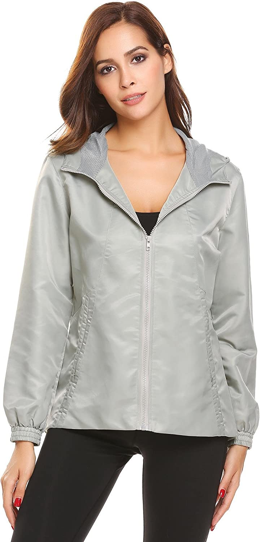 Etuoji Womens Casual Solid Waterproof Long Sleeve Hooded Outdoor Jacket Raincoat