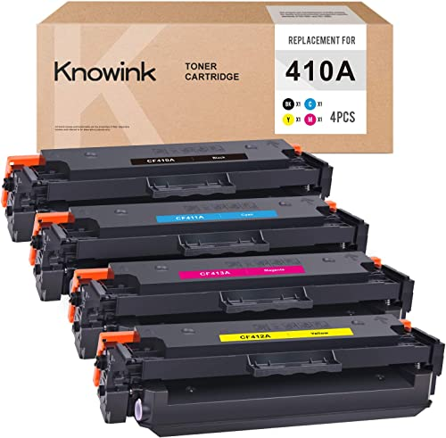 2021 KNOWINK Compatible Toner Cartridge Replacement for HP 410A CF410A CF411A CF412A CF413A for Laserjet M477fdw M477fnw M477fdn M452nw M452dn M452dw Toner (Black Cyan new arrival Yellow 2021 Magenta, 4-Pack) online