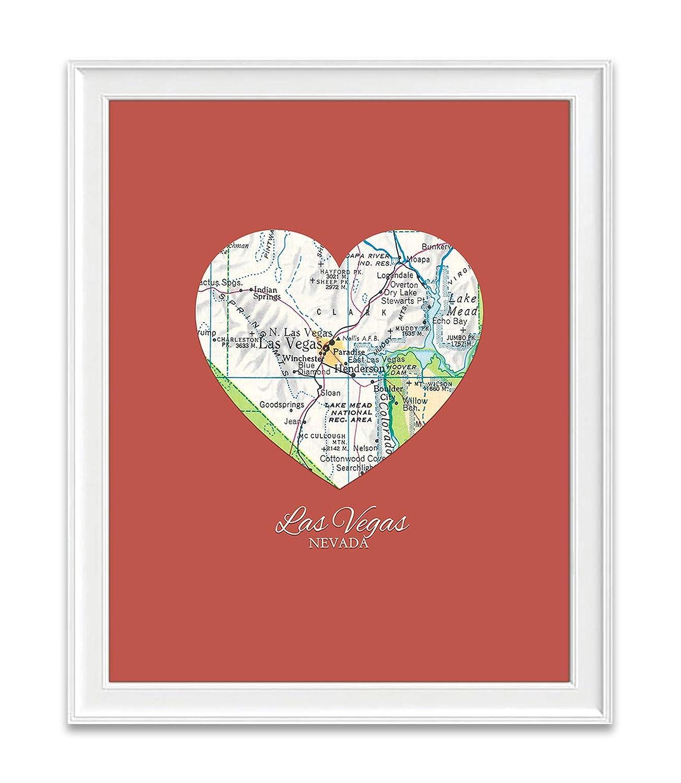 Las Vegas Nevada safety Vintage Heart Map Customiz A surprise price is realized Unframed Print Art