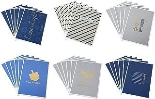 Hanukkah Greeting Cards/Jewish Chanukah Cards - 6 Gold Foil Designs: Menorah, Star of David, Dreidel - Bulk Box Set - Blank on Inside - Includes 36 Cards & Envelopes - 4