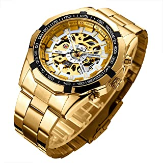 Skeleton Watches for Men, Automatic Mechanical Watch, Luxury X Dial Steampunk Sport Business Stainless Steel Wrist Watch