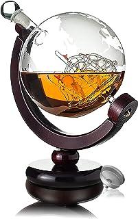 Awemoz Whiskey Karaffe - Globus - Whisky Karaffe - Vatertagsgeschenk - 800 ml - Inkl. Ausgießer