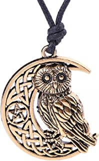 Fashion Viking Irish Knot Owl Animal Pendant with Pentagram Moon Pattern Necklace Jewelry (Antique Gold)