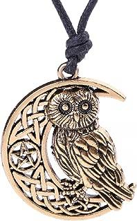 Fashion Viking Irish Knot Owl Animal Pendant with Pentagram Moon Pattern Necklace Jewelry (Antique Gold)