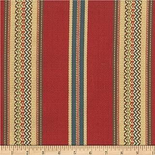 Laura & Kiran 0530400 Southwest Stripes El Dorado Red Twill Fabric by the Yard
