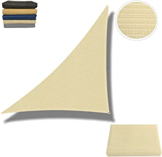 Eden's Decor Sun Shade Sail Right Triangle Outdoor with Durable Thick Air-Permeable UV Block Canopy for Garden, Patio, Swimming Pool, Backyard, Driveway, Fence, Deck (Beige, 14' x 14' x 20')