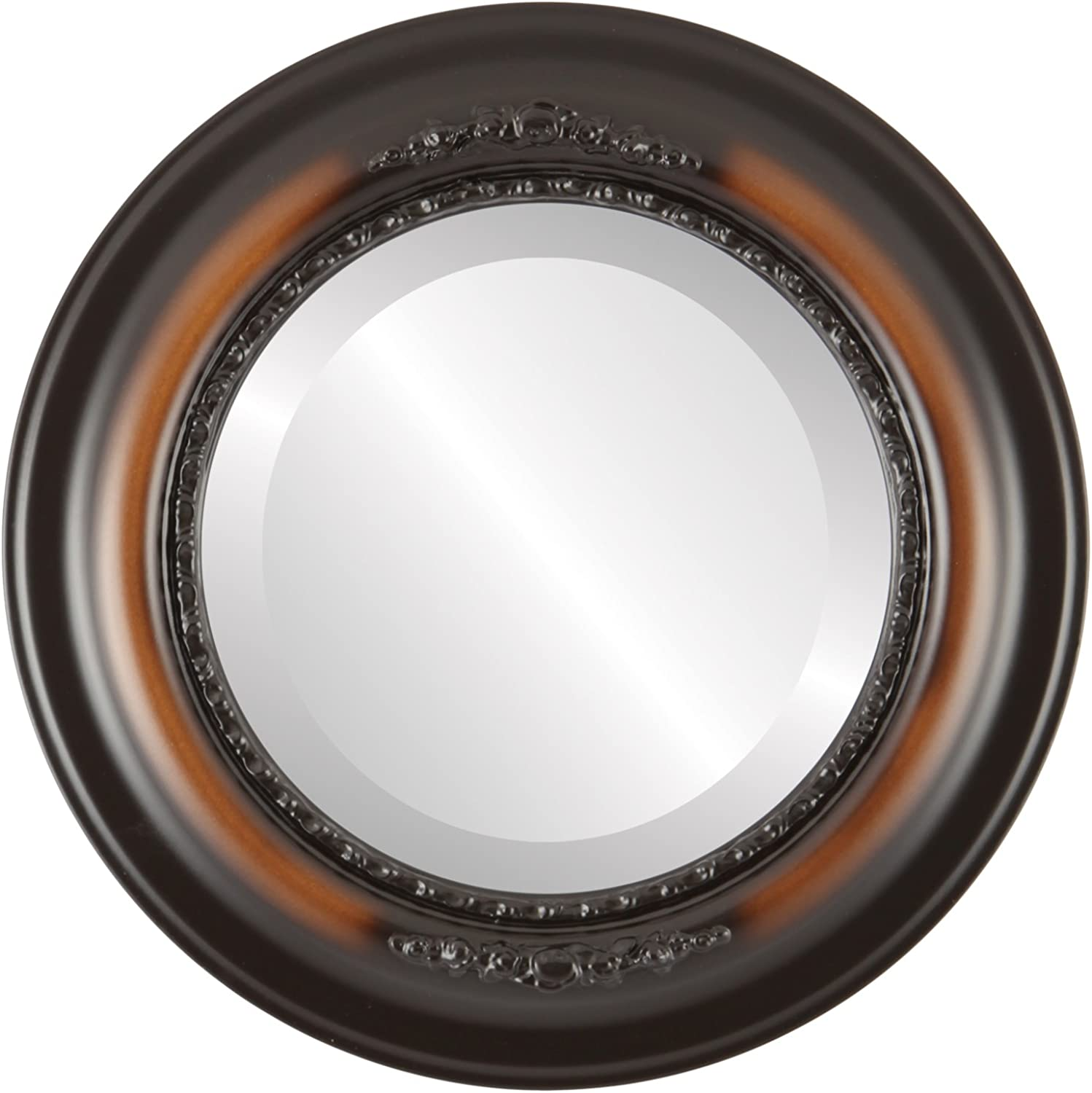 OvalAndRoundMirrors  Round Beveled Mirror in a Boston style Walnut frame with 19x19 outside dimensions