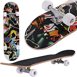 "Skateboard, 31"" x 8"" Complete PRO Skateboard, 9 Layer Canadian Maple Wood Double Kick Tricks Skate Board Concave Design for Beginner,Gift for Kids Boys Girls Youths"