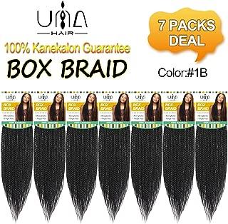 UNA 18Inches 7packs Box Braids Crochet Hair Extensions Synthetic Hair Crochet Braids Kanekalon Jumpo Braiding Hair (18inch,7pcs, 1B) …