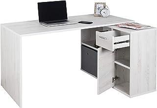 RICOO WM083-WK Bureau Angle avec Rangement Table Console Extensible Meuble Bureau avec tiroir Étagère Armoir à Dossier Boi...