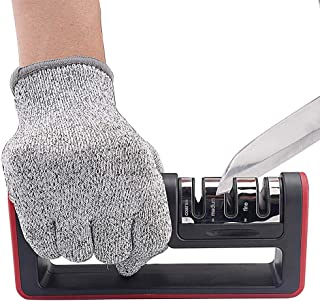Kitchen Knife Sharpener, LINGYUE 3-Stage Knife Sharpening Tool Helps Repair, Restore and Polish Blades - Reveal a Razor-sharp Blade (Cut-Resistant Glove Included)