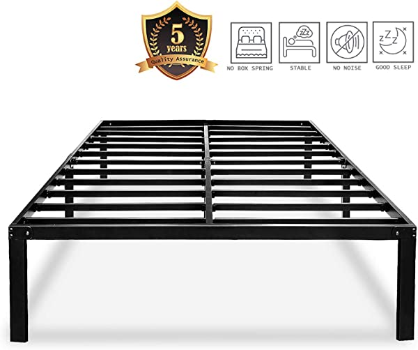 HAAGEEP Heavy Duty King Bed Frame No Box Spring Needed 14 Inch Black Metal Platform Beds Frames With Storage