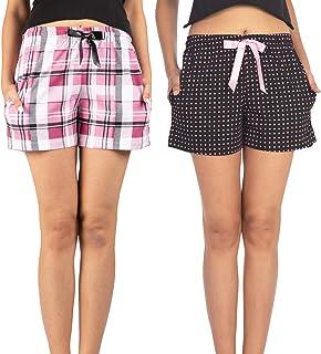 NITE FLITE Women's Cotton Shorts- Pack of 2(Pink Checks & Polka Dot)
