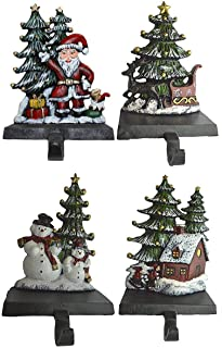 Lulu Decor, 100% Cast Iron Christmas Stocking Holder, Set of 4 Hooks, Sleigh with Deer, Santa with Gifts, House with Kids & Snowman with Christmas Tree (House)