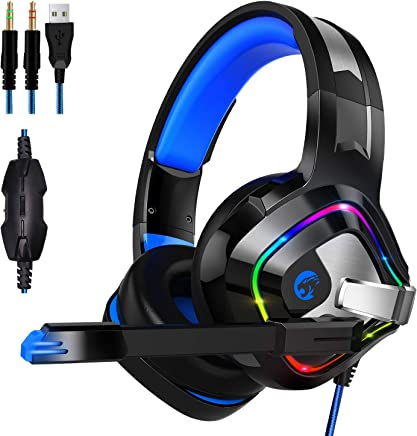 $27 Get ZIUMIER Gaming Headset PS4 Headset, Xbox One Headset with Noise Canceling Mic & RGB Light, PC Headset with Stereo Surround Sound, Over Ear Headphones for PC, PS4, Xbox One, Laptop