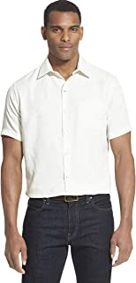 Van Heusen Men's Air Tropical Short Sleeve Button Down Poly Rayon Shirt