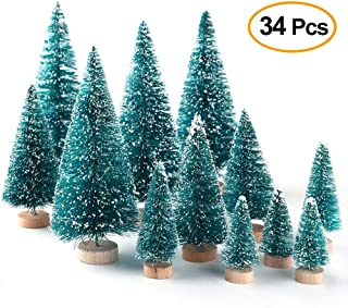 Alapaste 34Pcs Mini Sisal Snow Frost Trees Artificial Christmas Trees on Wooden Bases, Xmas Small Pine Tree Party Decorations for DIY Craft Room Decor Home Tabletop Ornaments