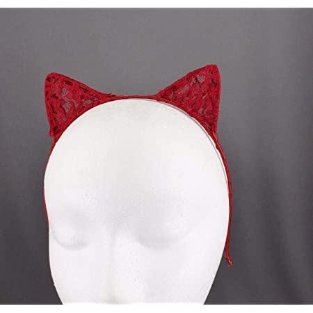 Cat Pony Clip on Ears red white hair accessories