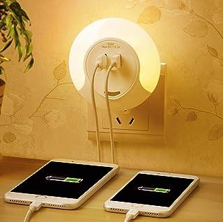 Slosh Veilleuse avec capteur de crépuscule et chargeur USB avec 2ports, 3modes automatique/on/off, lampe de chevet, chambre