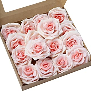 Ling's moment Rose Artificial Flowers 16pcs Realistic Blush Heirloom Avalanche Roses with Stem for DIY Wedding Bouquets Centerpieces Floral Arrangements Decorations