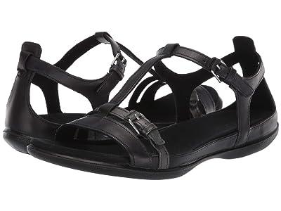 ECCO Summer Buckle Sandal (Black/Dark Shadow Metallic Cow Nubuck/Cow Leather) Women