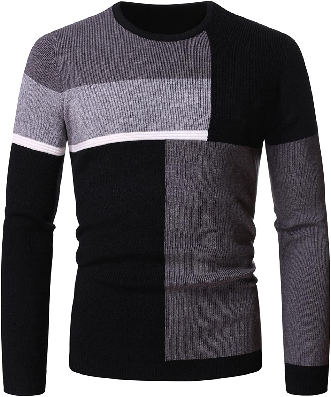 Men Knitted Sweatshirt Long Sleeve Round Neck Pullover Sweater Classic Stripe Color Block Jumper Lightweight Soft Top